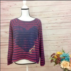 Tommy Girl Graphic Heart & Striped Sweatshirt Top